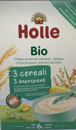 Holle Παιδική Κρέμα με 3 Δημητριακά Ρύζι, Καλαμπόκι & Κεχρί από τον 6ο μήνα 250gr