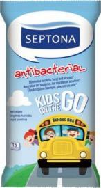 Septona Antibacterial  Kids On The Go Παιδικά Αντιβακτηριδιακά Μαντηλάκια 15 Τεμάχια