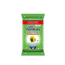 Mega Wet Hankies Μαντηλάκια αντιβακτηριδιακά με αιθυλική αλκοόλη με άρωμα λεμόνι 15τμχ