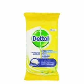 Dettol Surface Wipes Lemon & Lime Αντιβακτηριδιακά Μαντηλάκια Καθαρισμού Επιφανειών 40 Τεμάχια