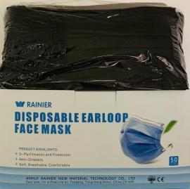 Μαύρες Μάσκες Προσώπου 3 Στρώσεων Χειρουργικές Ενηλίκων 50 Τεμάχια Ανά Κουτί