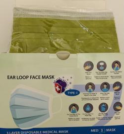 Μάσκες Προσώπου Λαδί 3ply Mask 99,8% Προστασία 50 Τεμάχια [2 Τεμάχια ανά Σακουλάκι x 25 Σακουλάκια]