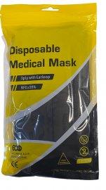 Μάσκες Προσώπου Μαύρες Disposable 3ply Mask Χειρουργικές 10 Τεμάχια σε Σακουλάκι με Zip