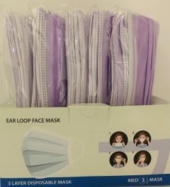 Μάσκες Προσώπου Λιλά 3ply Mask  50 Τεμάχια [10 Τεμάχια ανά Σακουλάκι x 5 Σακουλάκια]