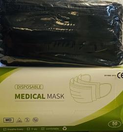 Μάσκες Προσώπου 3ply Μαύρες Type:IIR Mask 50 Τεμάχια Ανά Κουτί