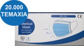 20.000 Μάσκες Προσώπου 3ply Medical Mask Χειρουργικές 99,8% Προστασία 50 Τεμάχια Ανά Κουτί x 400 Κουτιά
