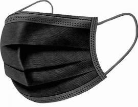 Μάσκες Μιας Χρήσης Με Λάστιχο Μαύρο (3ply), 10 Τεμάχια