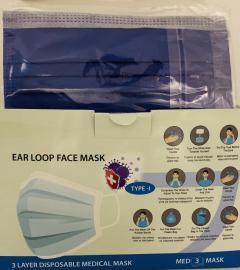 Μάσκες Προσώπου Μπλέ Disposable 3ply Mask Χειρουργικές 50 Τεμάχια [2 Τεμάχια ανά Σακουλάκι x 25 Σακουλάκια]
