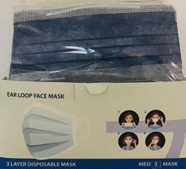 Μάσκες Προσώπου Μπλέ Disposable 3ply Mask 50 Τεμάχια [10 Τεμάχια ανά Σακουλάκι x 5 Σακουλάκια]