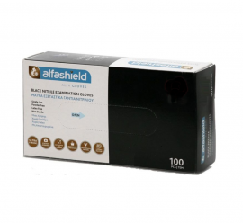 Alfashield Εξεταστικά Γάντια Νιτριλίου μιας χρήσης Χωρίς Πούδρα ΜΑΥΡΑ Small 100τμχ