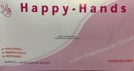 Happy Hands Γάντια Latex Χωρίς Πούδρα Μέγεθος:Large 100 Τεμάχια
