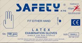 Safety Latex  Εξεταστικά Γάντια [Size :S] Με Πούδρα 100 Τεμάχια