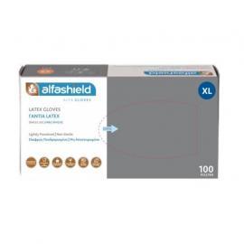 Γάντια Alfashield Εξεταστικά Latex Χωρίς Πούδρα (XL) 100τμχ