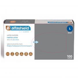 Alfashield Latex Γάντια Ελαφρώς Πουδραρισμένα [Size:Large] 100 Τεμάχια