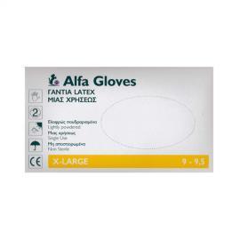 ALFA GLVOES Γάντια Latex Μιας Χρήσεως Ελαφρώς Πουδραρισμένα X-Large 100 pcs