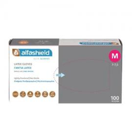 Alfashield Γάντια Latex Ελαφρώς Πουδραρισμένα μη Αποστειρωμένα No M, 100τμχ