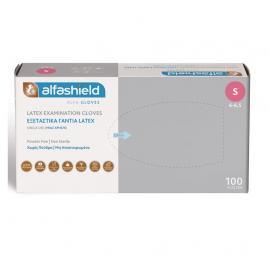 ALFA GLOVES Γάντια Latex Μιας Χρήσεως Ελαφρώς Πουδραρισμένα Small - 100τμχ