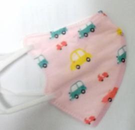 KN95 Παιδική Μάσκα Ροζ με Αυτοκίνητα 1τμχ