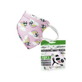 Παιδική Μάσκα KN95 FFP2 Υψηλής Προστασίας μιας Χρήσης Ροζ με Ουράνιο Τόξο 1τμχ