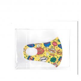 Nano Υφασμάτινη Παιδική Μάσκα με Ραφή Πολλαπλών Χρήσεων Κίτρινη με Σχέδια