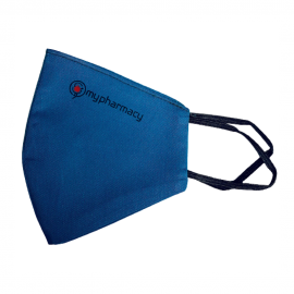 MyPharmacy Υφασμάτινη Μάσκα Προστασίας Από Ιούς Και Λοιμώξεις Με Διπλή Επένδυση, Θαλασσί Βαμβακερή 100%,1τμχ
