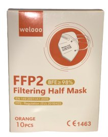 Welooo Μάσκα FFP2 NR Πορτοκαλί 98% Προστασία 10 Τεμάχια σε Κουτί