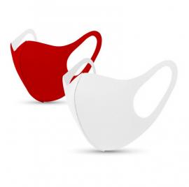 Tili Μάσκες Προσώπου Πολλαπλών Χρήσεων Ενηλίκων Ζευγάρι Άσπρη-Κόκκινη 2τμχ