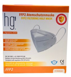 HG Poli FFP2 NR Λευκές Μάσκες Χωρίς Βαλβίδα Εκπνοής 10 Τεμάχια σε Κουτί