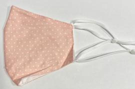 Classic Mask Υφασμάτινη Μάσκα Ενηλίκων Διπλή Βαμβακερή Με Έλασμα Και Ρυθμιζόμενο Λάστιχο Χρώμα:Μικρό Πουά Ροζ 1 Τεμάχιο