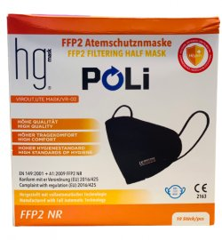 HG Poli FFP2 NR Μαύρες Μάσκες Χωρίς Βαλβίδα Εκπνοής 10 Τεμάχια σε Κουτί