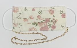 Μάσκα 100% Βαμβακερή Ενηλίκων Ρόζ Λουλούδια Ενηλίκων Με Έλασμα Στη Μύτη Και Αλυσιδάκι Χρυσό 1 Τεμάχιο