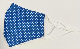 Classic Mask Υφασμάτινη Μάσκα Ενηλίκων Διπλή Βαμβακερή Με Έλασμα Και Ρυθμιζόμενο Λάστιχο Χρώμα:Μικρό Πουά Μπλε 1 Τεμάχιο