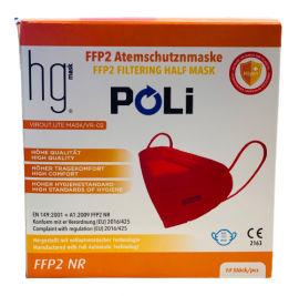 HG Poli FFP2 NR Κόκκινες Μάσκες Χωρίς Βαλβίδα Εκπνοής 10 Τεμάχια σε Κουτί