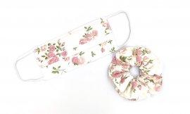 Υφασμάτινη Μάσκα Διπλής Ύφανσης Με Λουλούδια ΣΕΤ Με Λαστιχάκι Μαλλιών 1 Τεμάχιο