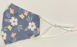 Classic Mask Υφασμάτινη Μάσκα Ενηλίκων Διπλή Βαμβακερή Με Έλασμα Και Ρυθμιζόμενο Λάστιχο Μπλε Μεγάλα Λουλούδια  1 Τεμάχιο