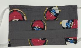 Παιδική Μάσκα Βαμβακερή Με Έλασμα Στην Μύτη Γκρι Πιγκουίνοι 1 Τεμάχιο