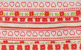 Παιδική Μάσκα Βαμβακερή Με Έλασμα Στην Μύτη Ροζ Με Καρδούλες 1 Τεμάχιο