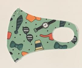 Nano Υφασμάτινη Παιδική Μάσκα Προσώπου Με Ραφή Πολλαπλών Χρήσεων Πράσινη Με Σχέδια 1 Τεμάχιο