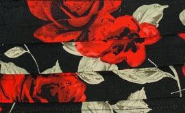 Παιδική Μάσκα Βαμβακερή Με Έλασμα Στην Μύτη Μαύρη Με Λουλούδια 1 Τεμάχιο