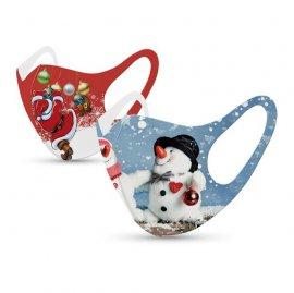 Tili Μάσκες Προσώπου Παιδικές Πολλαπλών Χρήσεων Χριστουγεννιάτικη Μάσκα με σχέδιο Χιονάνθρωπο – Άγιο Βασίλη 2τμχ
