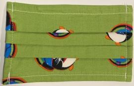 Παιδική Μάσκα Βαμβακερή Με Έλασμα Στην Μύτη Πράσινη Με Πιγκουίνους 1 Τεμάχιο
