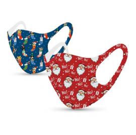 Tili Μάσκες Προσώπου Παιδικές Πολλαπλών Χρήσεων Χριστουγεννιάτικες μάσκες με σχέδιο Άγιο Βασίλη – Κάλτσες με γάτες 2τμχ