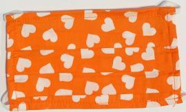 Παιδική Μάσκα Βαμβακερή Με Έλασμα Στην Μύτη Πορτοκαλί  Με Καρδιά  1 Τεμάχιο