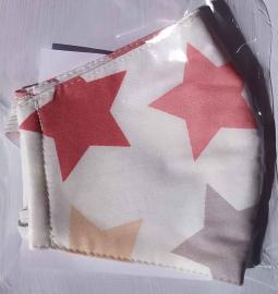 Παιδική Βαμβακερή Μάσκα Με Πολυεστερικό Φίλτρο Ρόζ Αστέρια, 1 Τεμάχιο