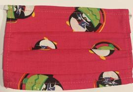 Παιδική Μάσκα Βαμβακερή Με Έλασμα Στην Μύτη Φούξια Με Πιγκουίνους 1 Τεμάχιο