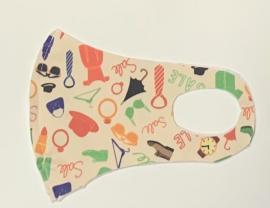 Nano Υφασμάτινη Παιδική Μάσκα Προσώπου Με Ραφή Πολλαπλών Χρήσεων Μπέζ Με Σχέδια 1 Τεμάχιο