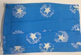 Παιδική Μάσκα Βαμβακερή Με Έλασμα Στην Μύτη Γαλάζια Με Αστεράκια 1 Τεμάχιο