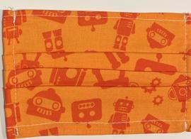Υφασμάτινη Anosia Παιδική Μάσκα Βαμβακερή Με Έλασμα Στην Μύτη Πορτοκαλί Ρομπότ Μέγεθος : M 1 Τεμάχιο