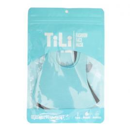 Tili Μάσκες Προσώπου Παιδικές Πολλαπλών Χρήσεων Γαλάζια-Μαύρη 2τμχ