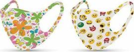 Tili Μάσκες Προσώπου Παιδικές Πολλαπλών Χρήσεων Πολύχρωμες Emoju - Λουλουδάκια για Κορίτσι 2 τμχ